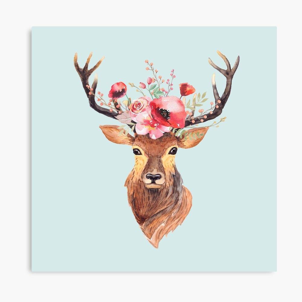 Bohemian Deer Canvas Print By Wheimay In 2021 Deer Art Print Deer Wallpaper Art Prints