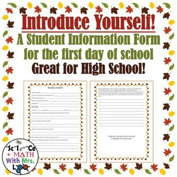 My high school students really love filling this form out! It has - contact information form