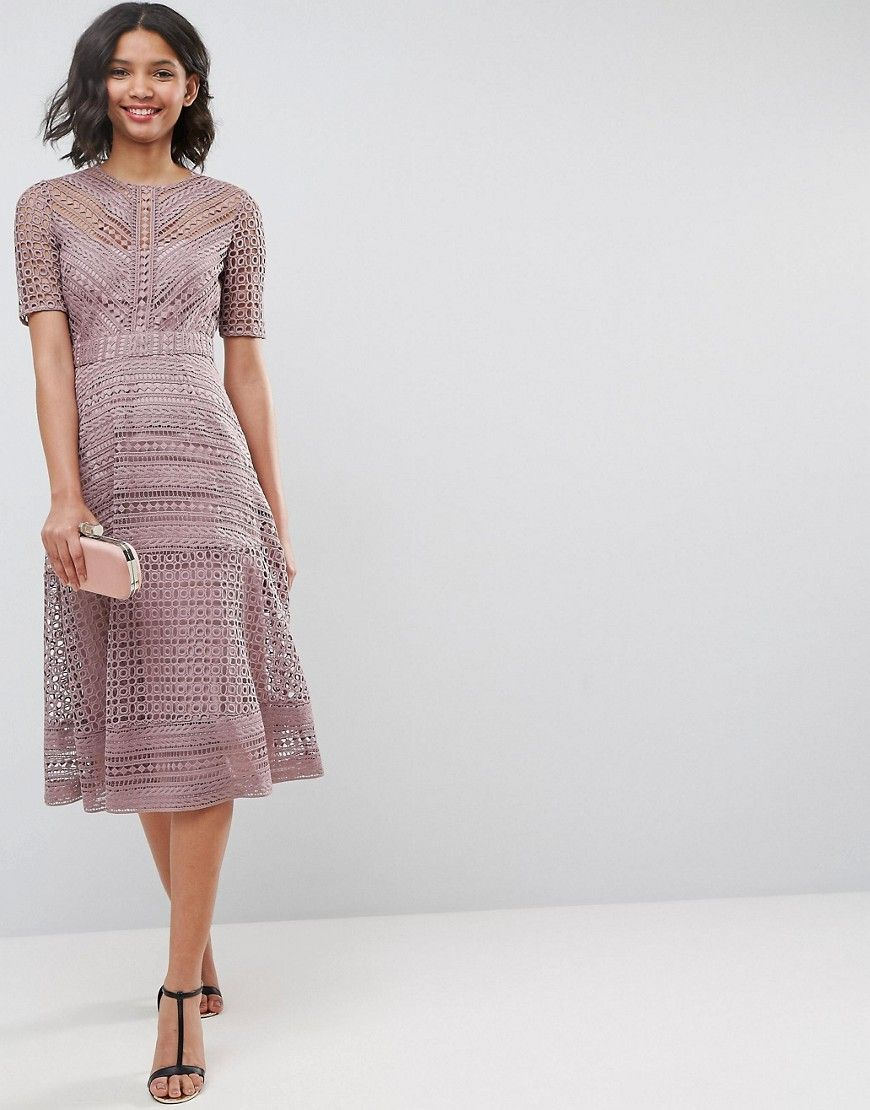 Asos wedding guest dresses with sleeves  ASOS PREMIUM Occasion Lace Midi Dress  Navy  Products