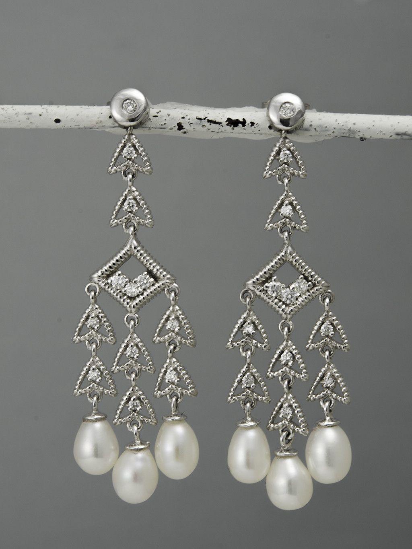 Alba Pearl Chandelier Diamond Earrings