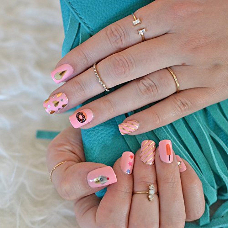 Sweet treat nail art set sheets of metallic gold and silver