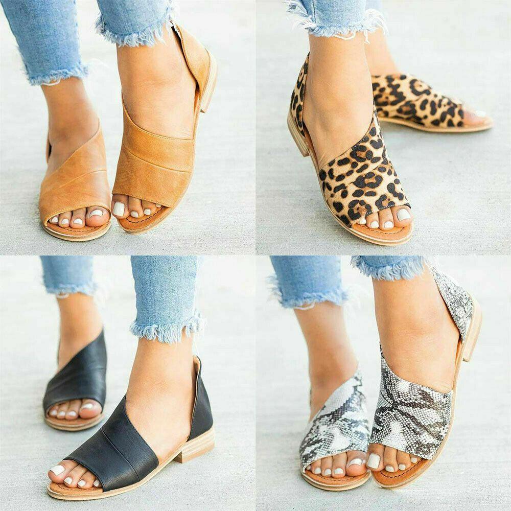 Womens Ladies Low Flat Wedge Heel Ankle Strap Gladiator Summer Sandals Shoes Siz