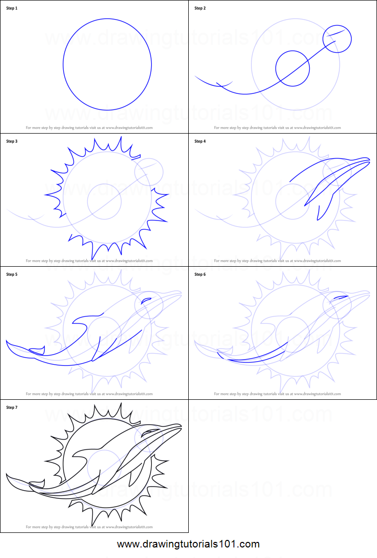 How To Draw Miami Dolphins Logo Printable Step By Step Drawing