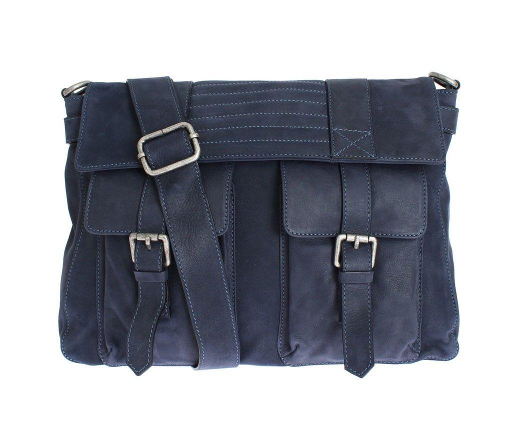 Pierre Balmain Blue Leather Messenger Bag Cf Color