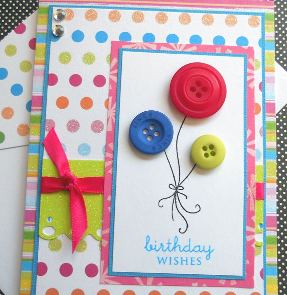 Handmade Birthday Card with Matching Embellished Envelope - Party Time