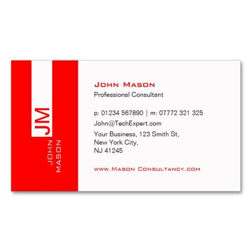 Modern red and white consultant business card consultant modern red and white consultant business card colourmoves Images