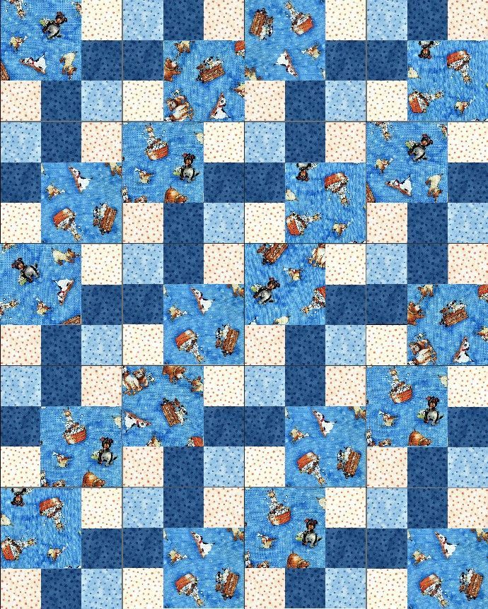 Lil Miss Cutie Dogs Blue PRE-CUT Quilt Kit Blocks : pre cut quilt blocks - Adamdwight.com