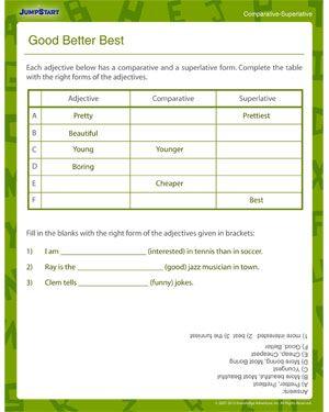 Good Better Best - Elementary Grammar Worksheet | Writing | Grammar ...