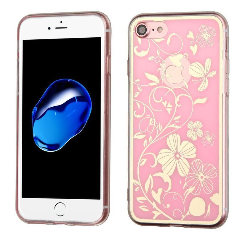 Insten / White Phoenix-tail Flowers TPU Rubber Candy Skin Case Cover For Apple iPhone 7 #2280065