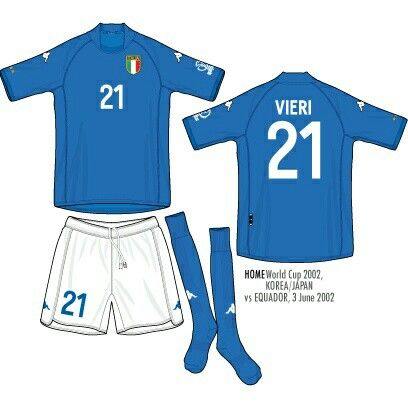 099badf46fc Italy home kit for the 2002 World Cup Finals