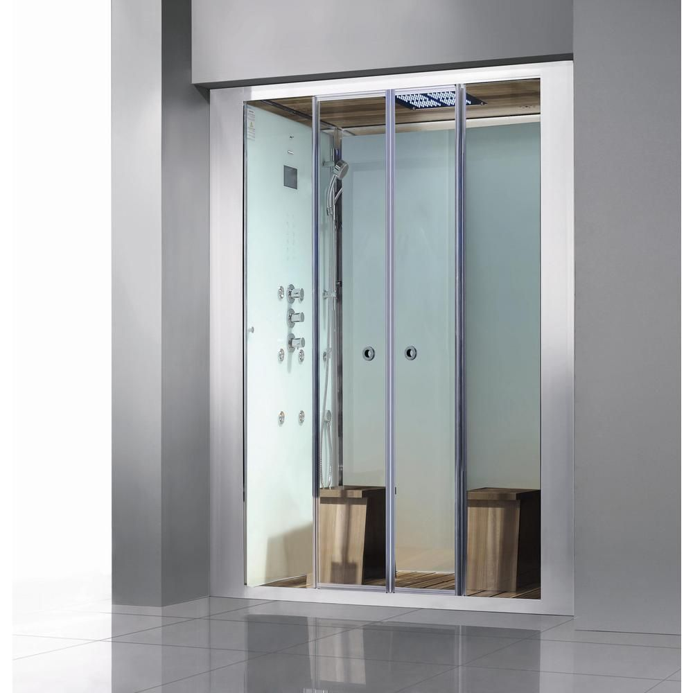 Athena Deluxe 2-Person Steam Shower Enclosure Kit with Sliding Doors ...
