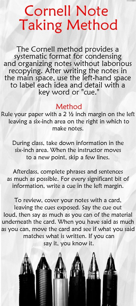 Note Taking Tip Cornell Note Taking Method The Cornell Method