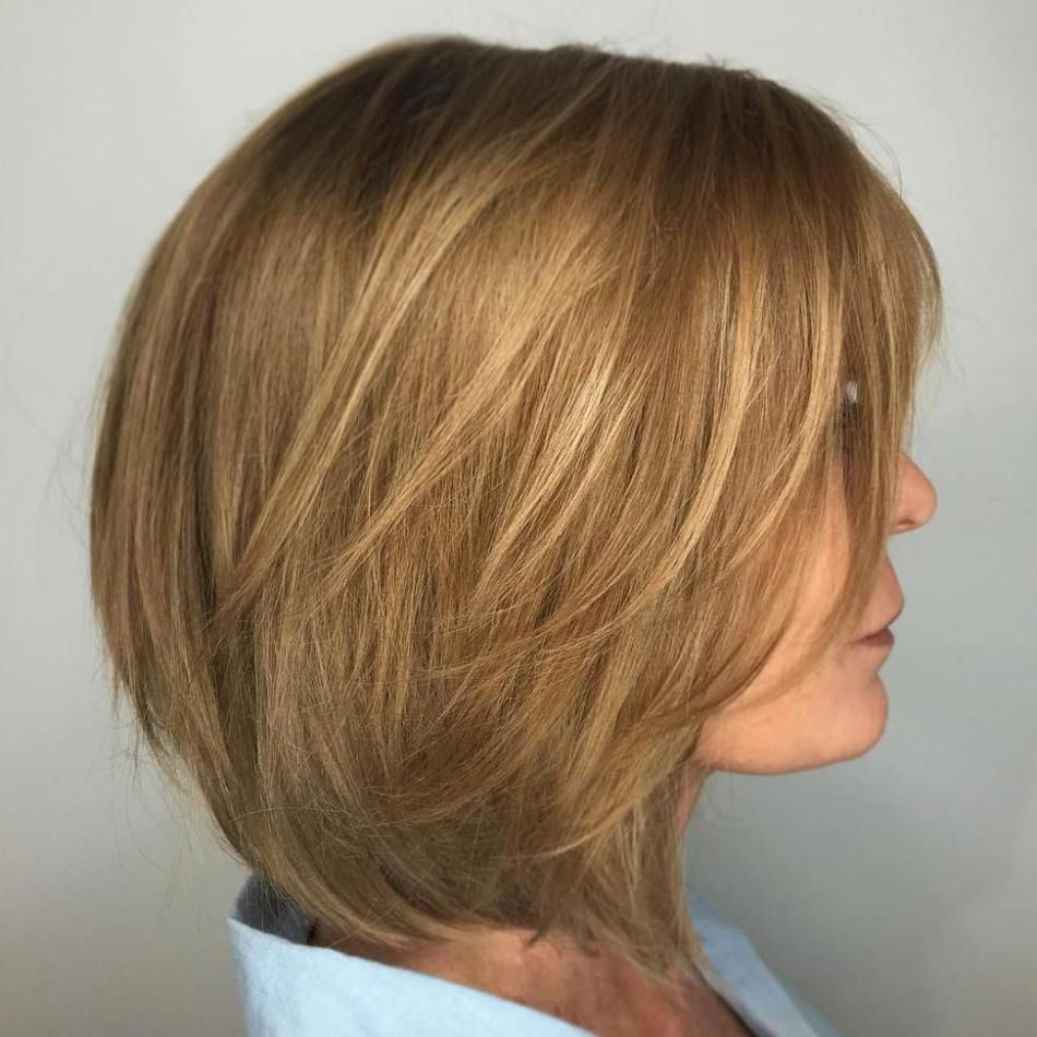 Golden Brown Layered Bob Hair Styles Short Hair Styles For Round Faces Medium Length Hair Styles