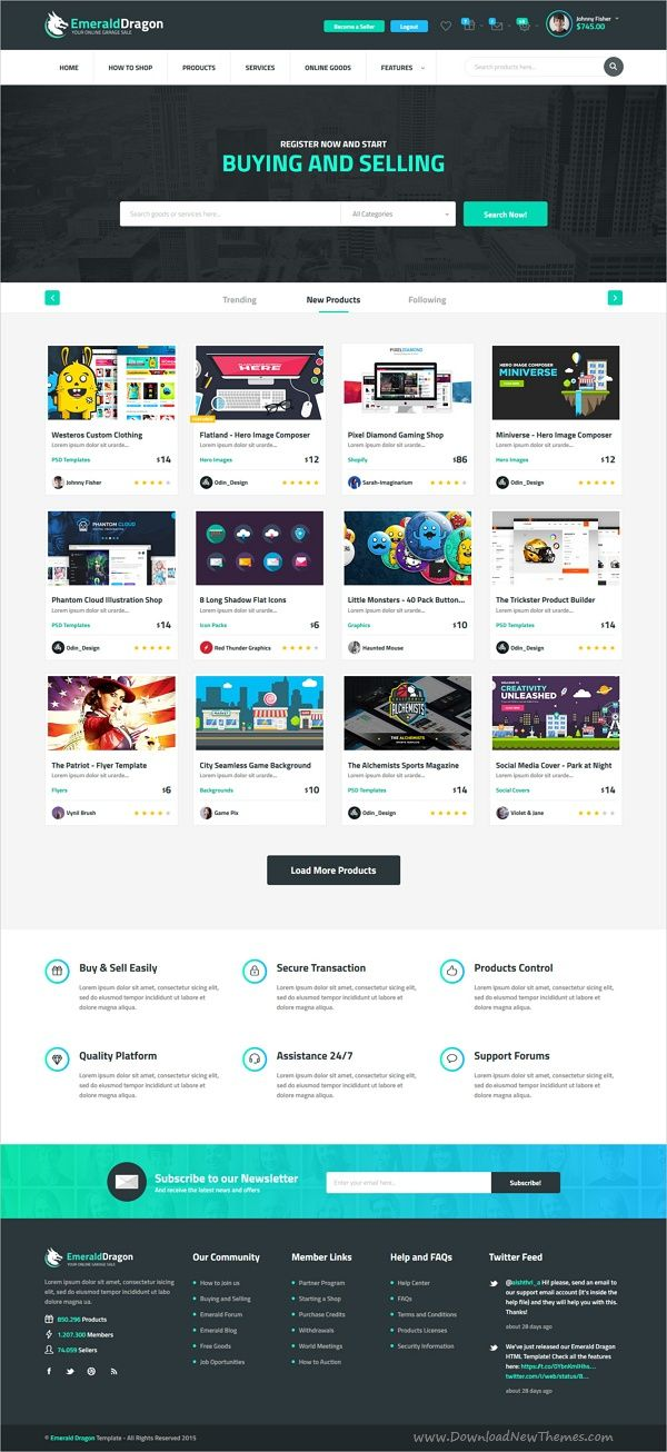Emerald Dragon Online Marketplace HTML Multipurpose Template V2.0 ...