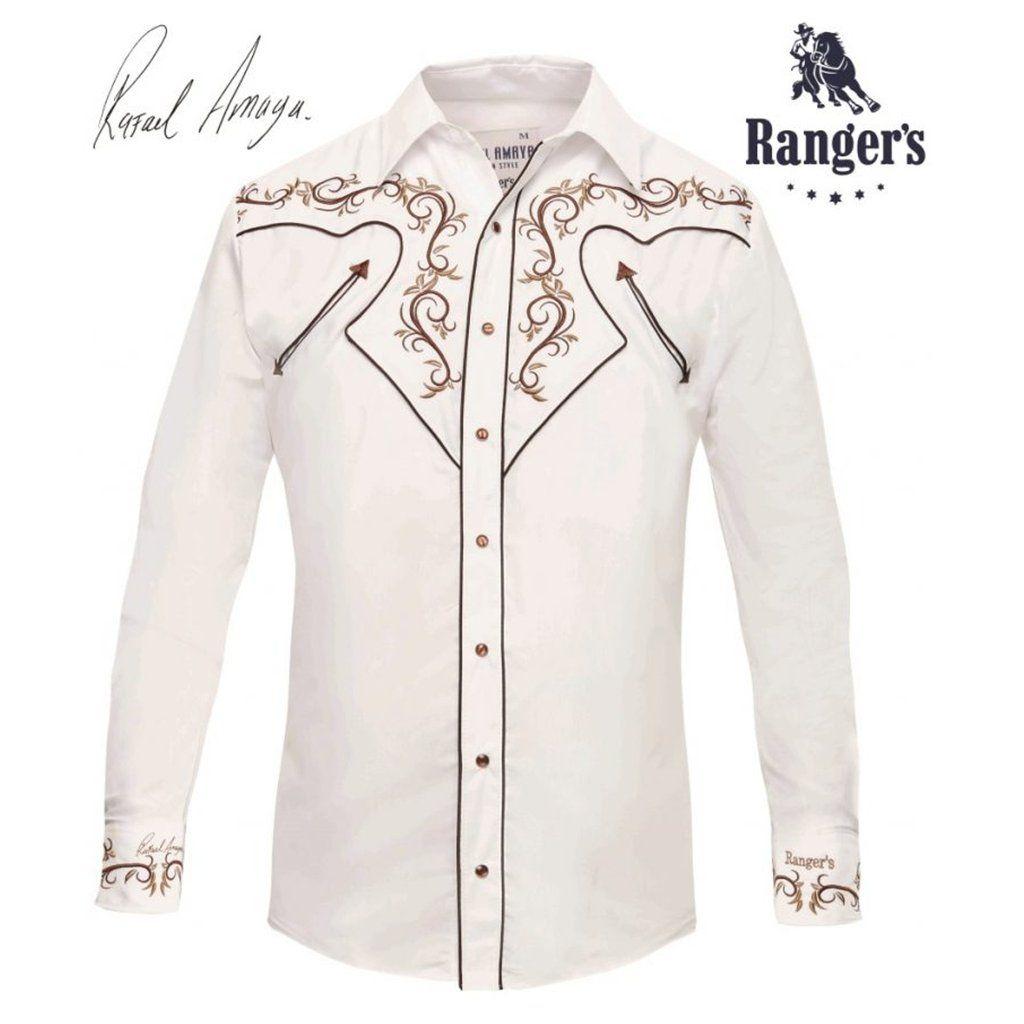 785b50180a3c3 Camisa Vaquera Rangers Rafael Amaya Collection Modelo RAN60 Color BLANCO
