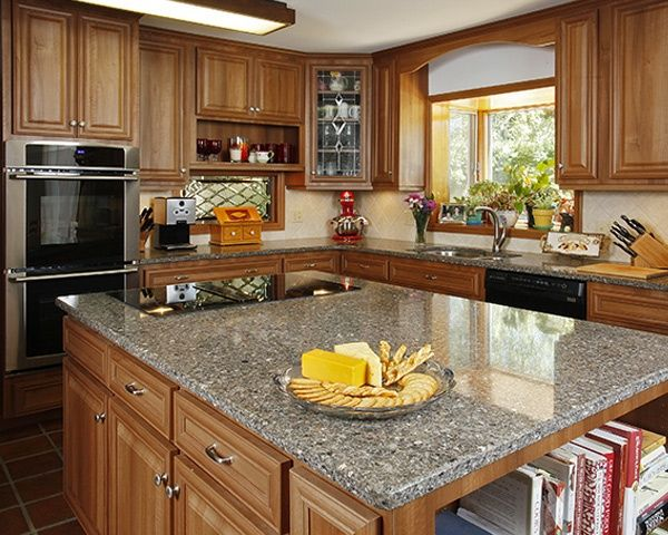 This refaced kitchen features Hazelnut cabinets with ... on Maple Kitchen Cabinets With Quartz Countertops  id=58103