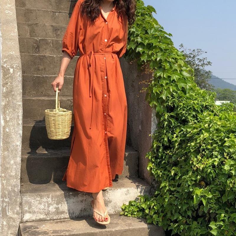 Casual Loose Tunic   Slim Long Sleeve Shirt Maxi Dresses 14