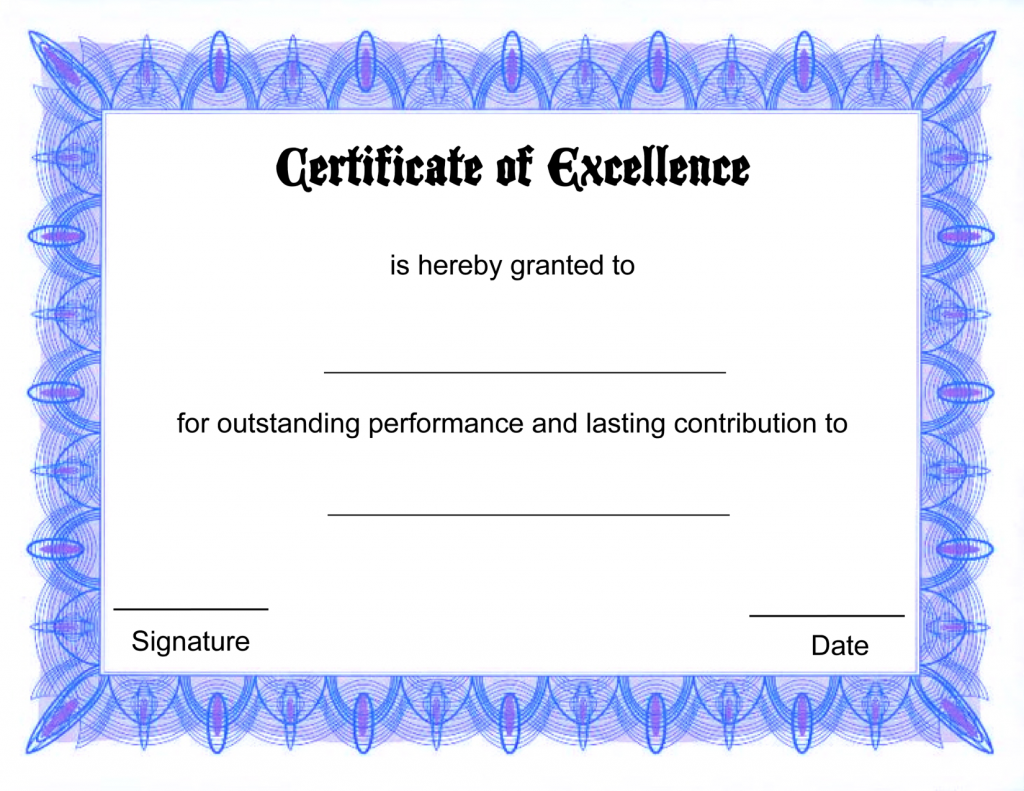 Blank certificate templates kiddo shelter blank certificate certificate of excellence template 5 free printable certificates of excellence templates certificate of excellence free printable allfreeprintablecom yadclub Choice Image