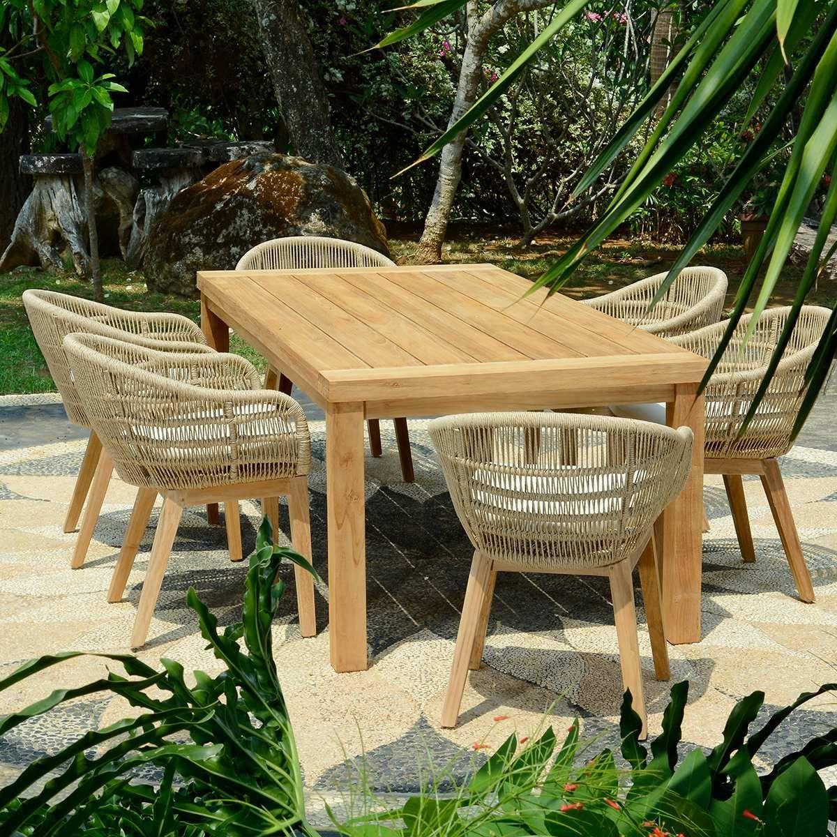 Salon de jardin en teck effet recyclé, Fresnay 250 | Repas ...