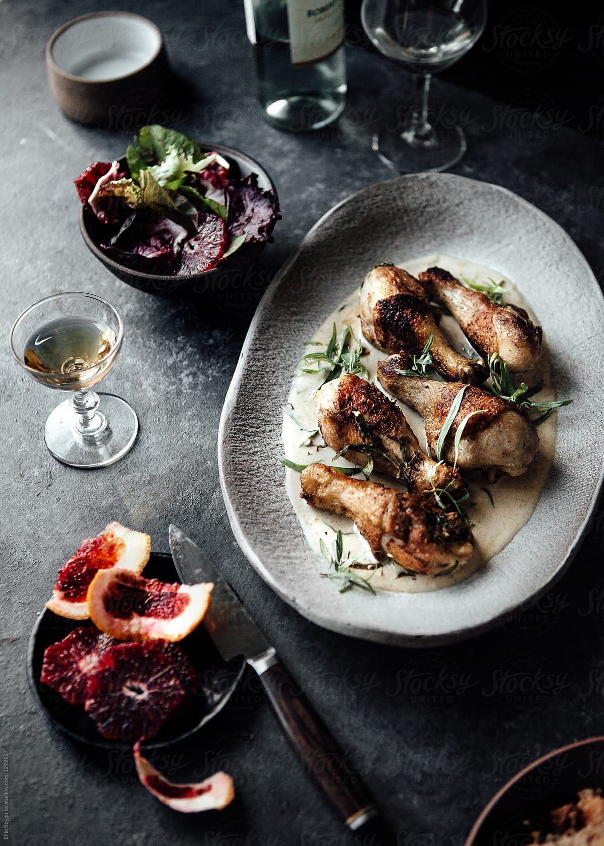 Tarragon Chicken Dish By Ellie Baygulov For Stocksy United Moody Food Photography Food Inspiration Dark Food Photography