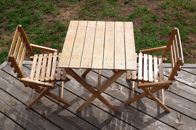 Table et chaise vintage de jardin pour enfants des années 30 ...
