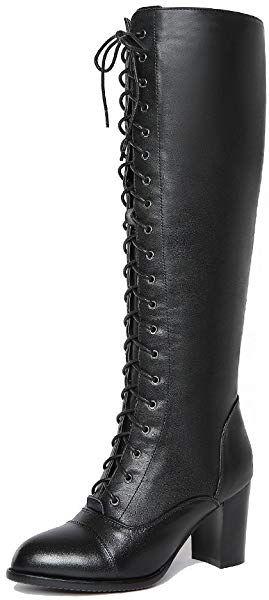 699faa9c71296 Amazon.com   Nine Seven Genuine Leather Women's Pointed Toe Chunky ...