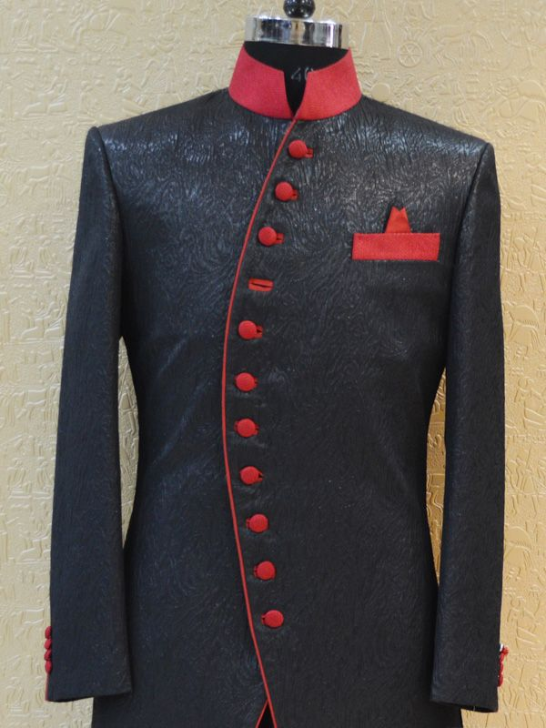 Red and black coloured suit for men. Made from linen, this full ...
