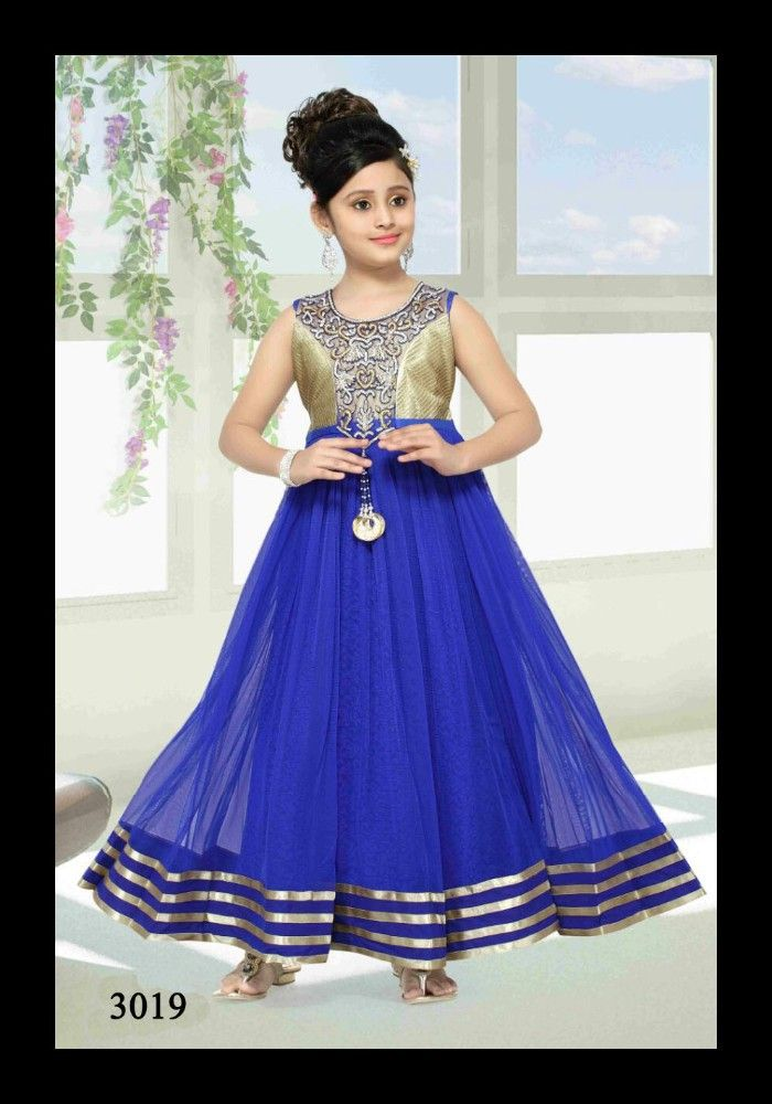 Evening Gown/frock Designs For Kids In Orange Colour Photo, Detailed ...