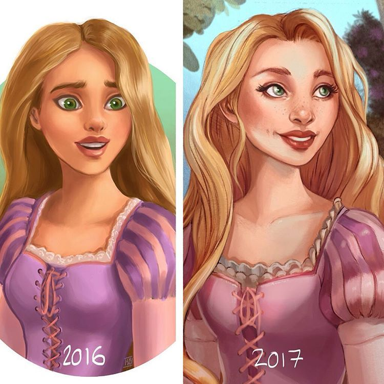 Rapunzel 😍 changed her expression a little, I much prefer it this way! I even added a hint of background, not that you can see it here 😂 doing these redraws has made me realise that I'm never going back to the airbrush again; I don't like the plastic look all my older versions had! I'm learning so much 😊💕