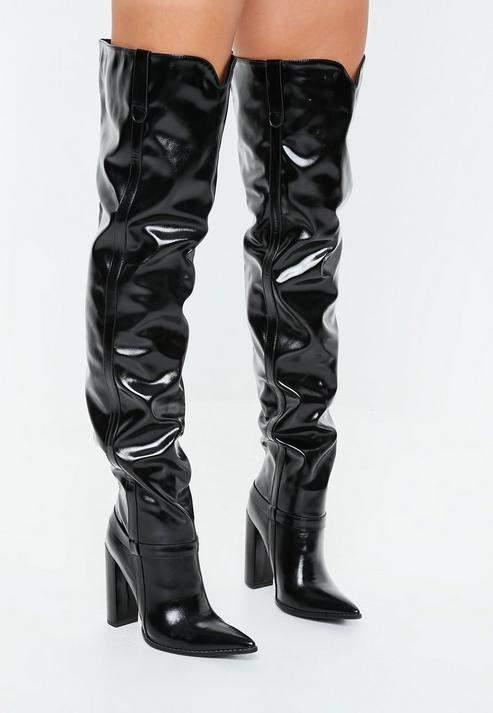 d8e2ae924b6 Black Block Heel Faux Leather Thigh High Boots in 2019 | Products ...