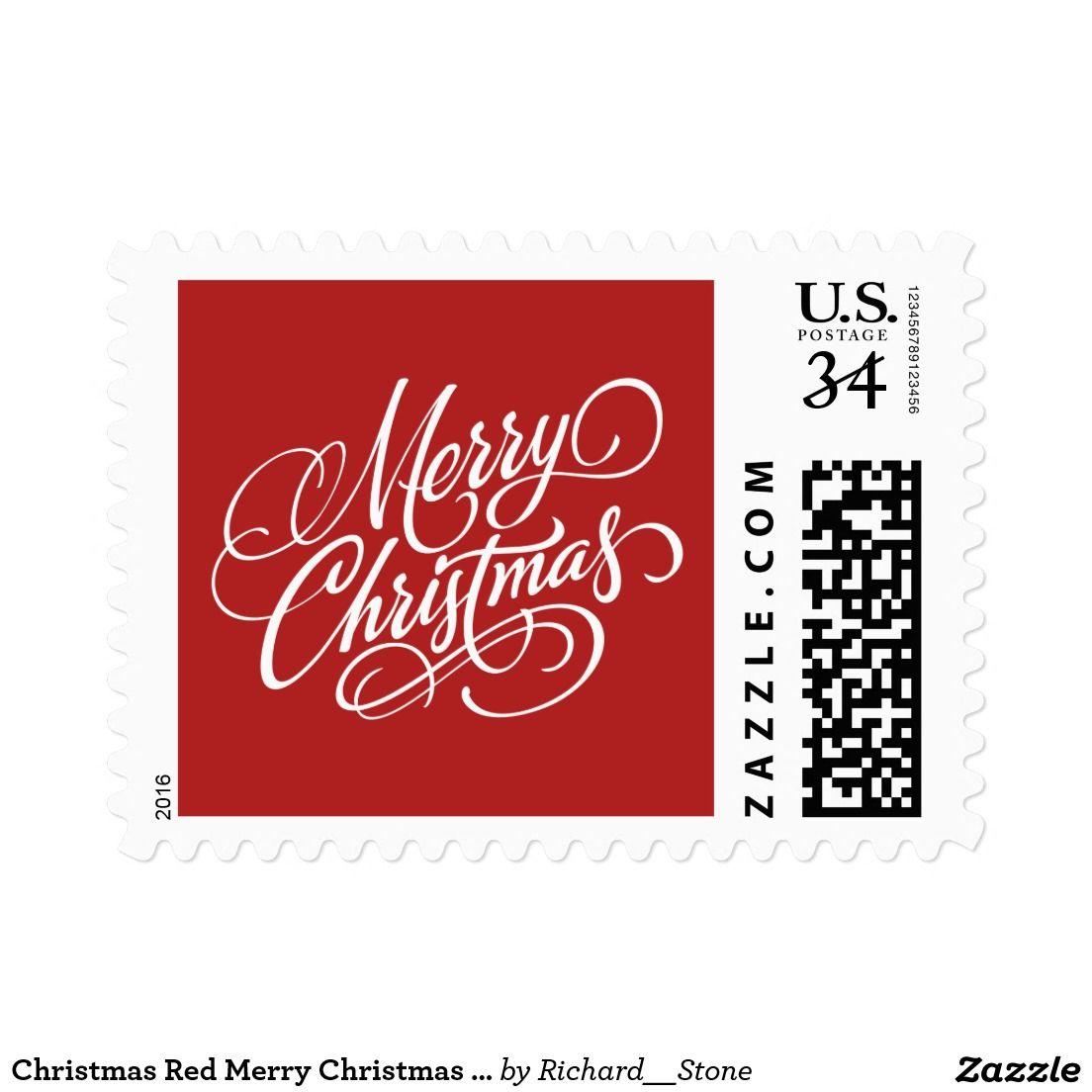 Christmas Red Merry Christmas Postage Stamp | Christmas Postage ...