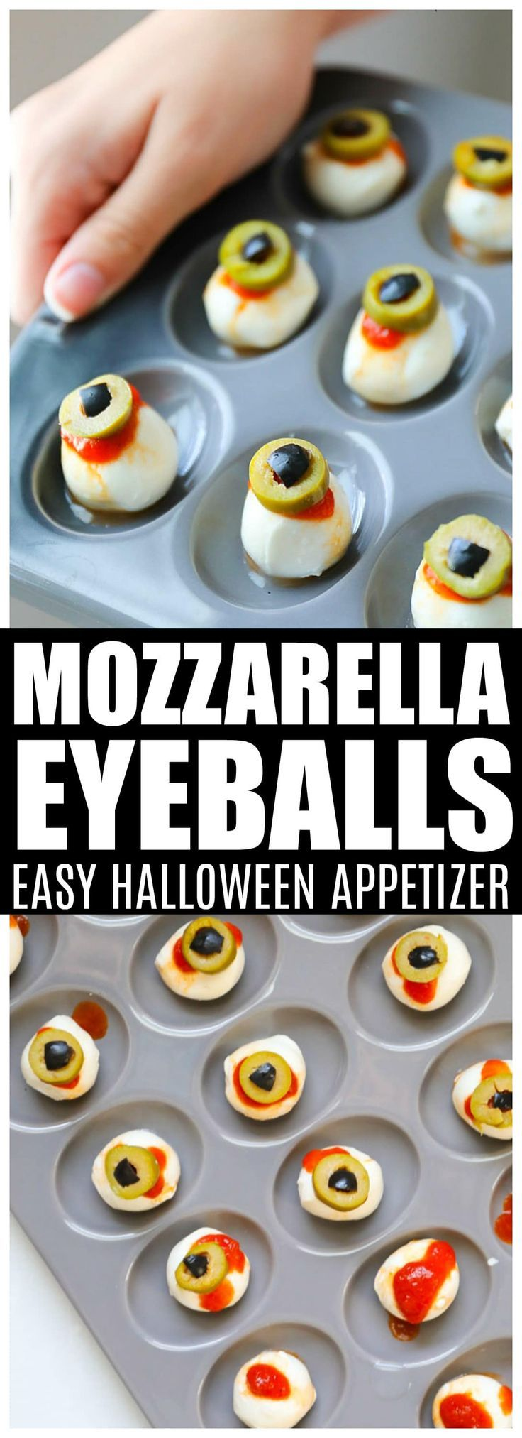 Halloween Appetizers : Mozzarella Eyeball Tray | Salty Side Dish #halloweenappetizerideas