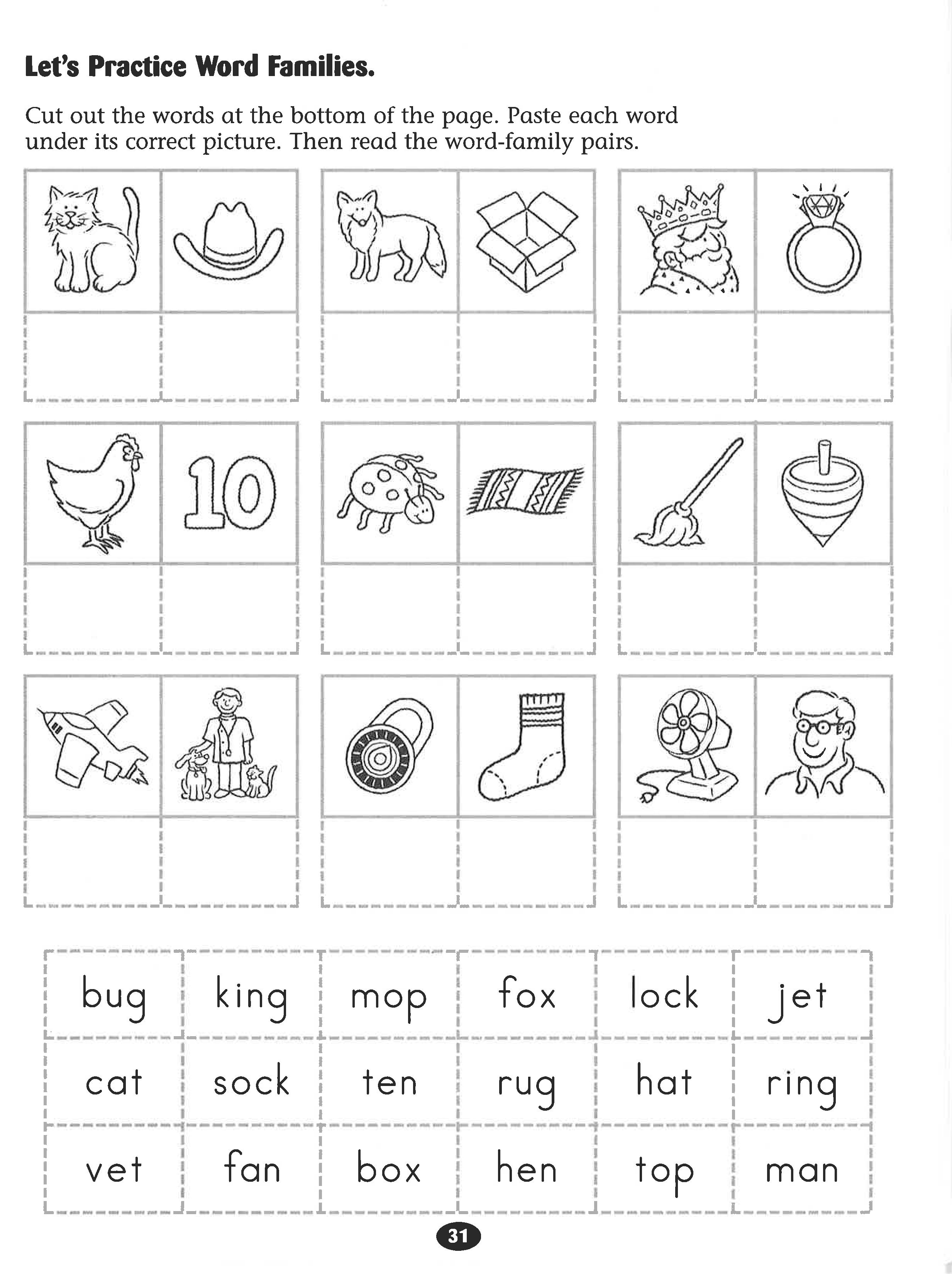 Let S Practice Word Families Worksheet