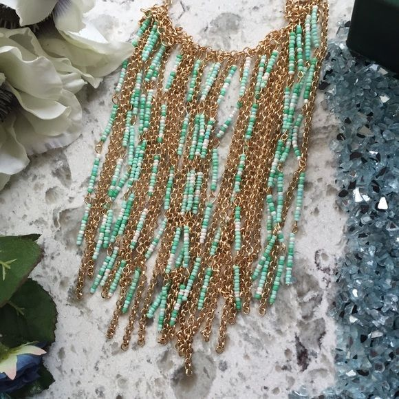 "Large Gold Tone & Beaded Statement Necklace Approx 17"" adjustable gold tone chained & beaded necklaces in various tones of green & pearl white Decree Jewelry Necklaces"
