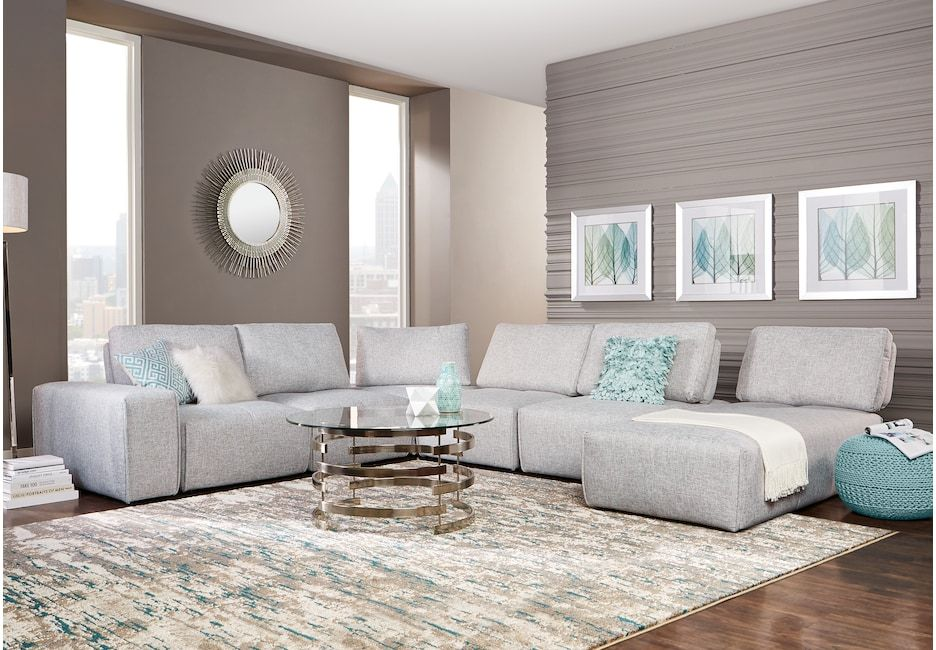 Laney Park Light Gray 7 Pc Sectional In 2019 The Flat 3