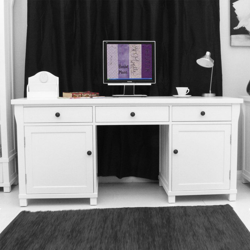 Hampton Solid Ash Twin Pedestal Hidden Computer Desk