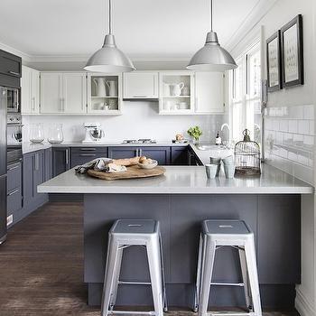 White Upper Cabinets Dark Lower Contemporary Kitchen Est Magazine