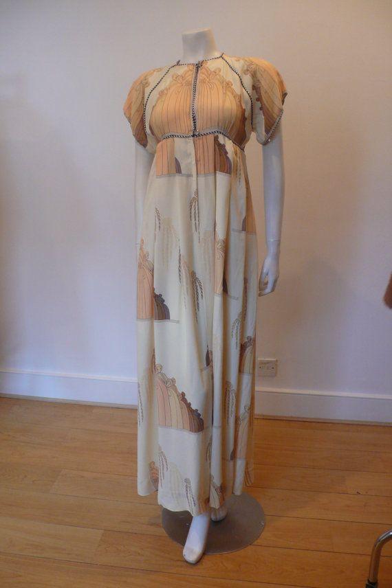 1970s Silk Crepe Jean Varon Maxi Dress by miniolavintage on Etsy, £170.00