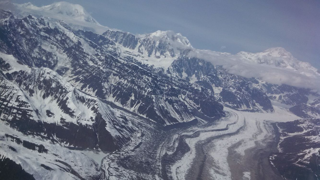 aerial view of Alaskan mountain range