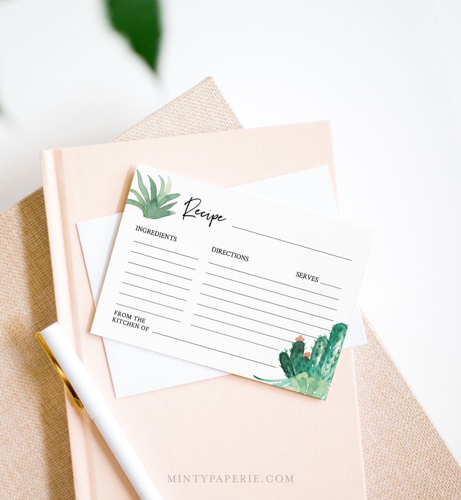 Cactus Recipe Card Template Instant Download 100 Editable Etsy Recipe Cards Template Recipe Cards Bridal Shower Recipes Cards