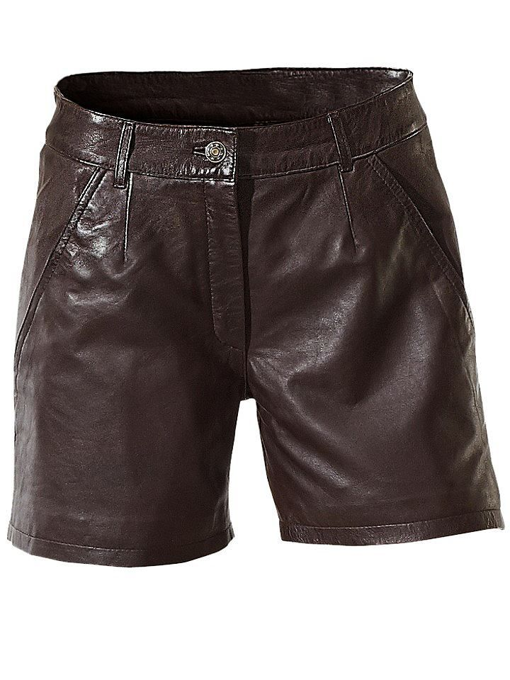 Sexy Style aus softem Leder! Bund mit Gürtelschlaufen, Knopf, Reißverschluss, 2 Eingrifftaschen, 1 Gesäßtasche. Weite Beinform. Schrittlänge ca. 10 cm. Futter: 100% Polyester....