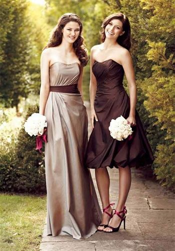 73eeb73d4b I like these contrasting colors. I want gold champagne and brown. Every  bridesmaid wearing a different dress.