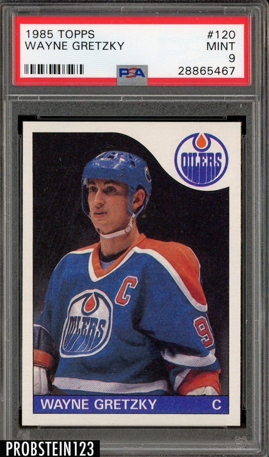 1985 Topps Hockey 120 Wayne Gretzky Oilers Hof Psa 9 Mit Hockeycards Hockeycards Wayne Gretzky Hockey Cards Oilers