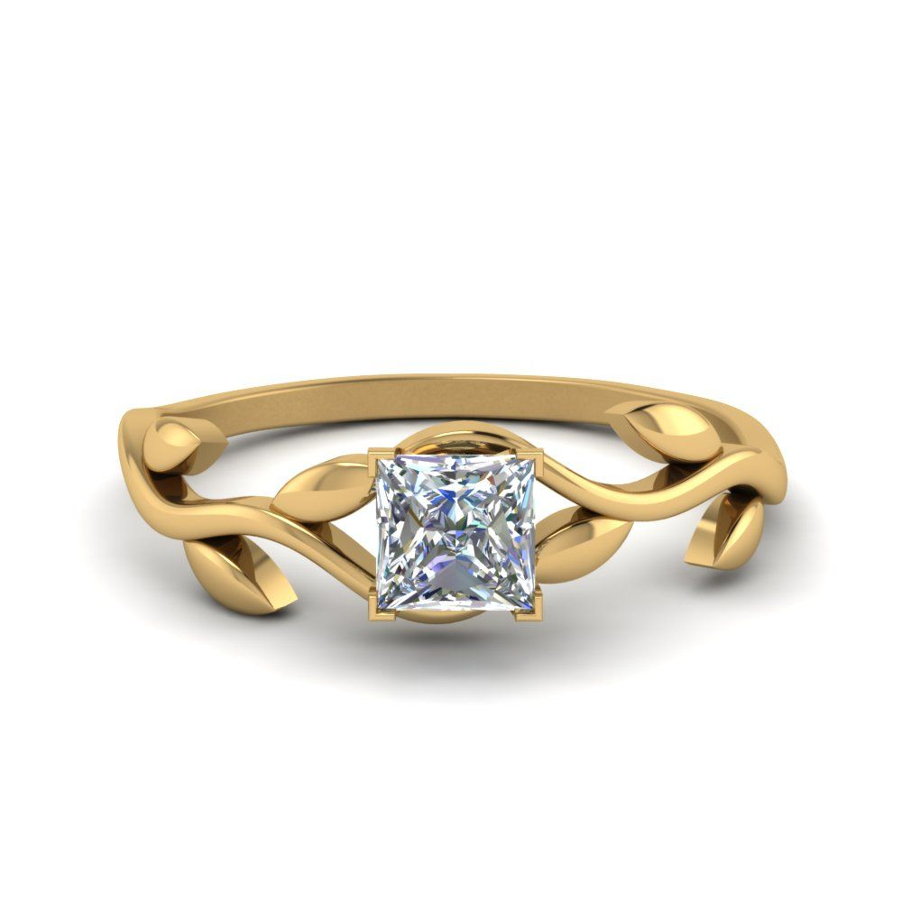 Nature inspired single diamond leaf ring pinterest nature