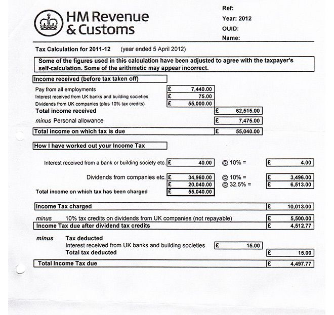 example of form sa302 from hmrc for mortgage applications