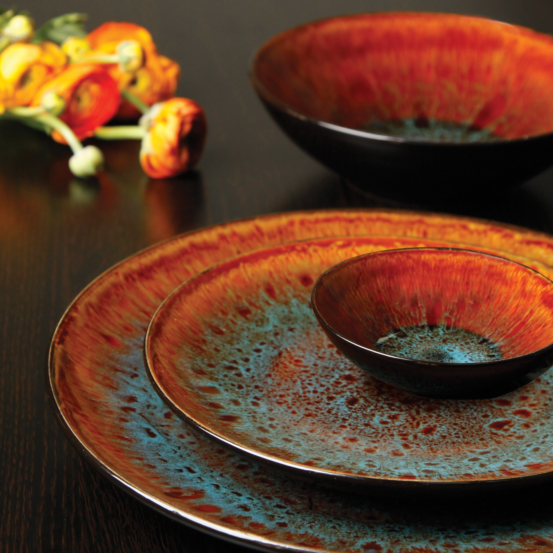 Gibson Elite Kioto 16 Piece Double Bowl Dinnerware Set Red Dish Sets Dinnerware Pottery Dishes Stoneware Dinnerware Sets