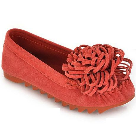 Ethnic Knit Flower Red Suede Flats