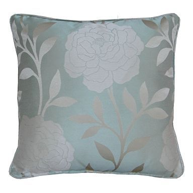 duck egg blue cushion with silver flower pattern that goes. Black Bedroom Furniture Sets. Home Design Ideas