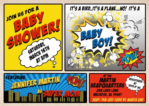 photo about Free Printable Superhero Baby Shower Invitations known as Superhero Youngster Shower Invitation - Customizable Comedian Ebook