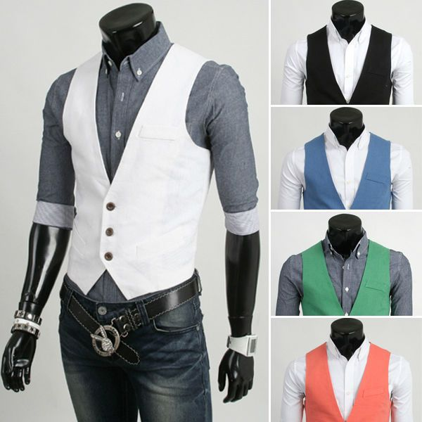 Click to Buy << New 2014 Spring 5 Color Men Suit Vest Slim. >>